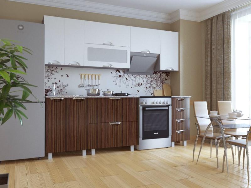Кухня Мадена Бело-зебрано глянец