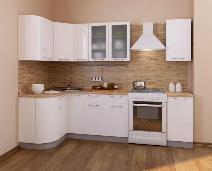 Кухня Фьюжн глянец белый