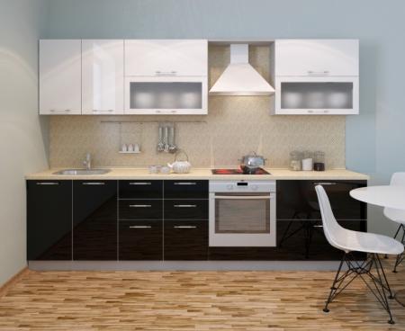 Кухня Фьюжн глянец черный-белый