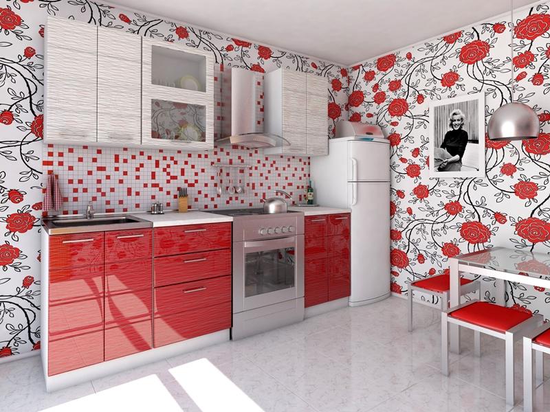 Кухонный гарнитур СОЛО (МДФ красный+белый дождь)