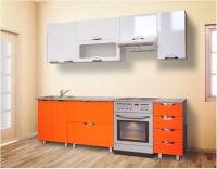 Кухня Мадена Бело-оранжевый глянец