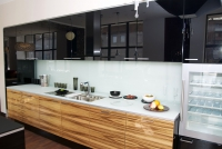 Кухня Черный/зебрано глянец