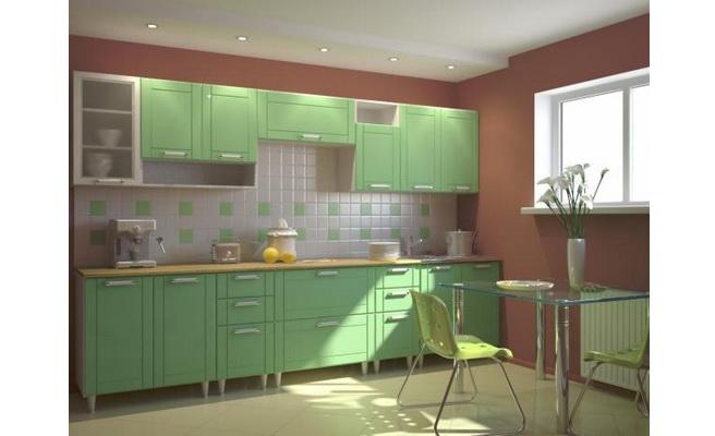 Кухня Умница - Зеленый МДФ