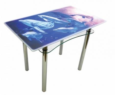 Стол из стекла Ян-1 ТрМр-Б (7 дельфинов)